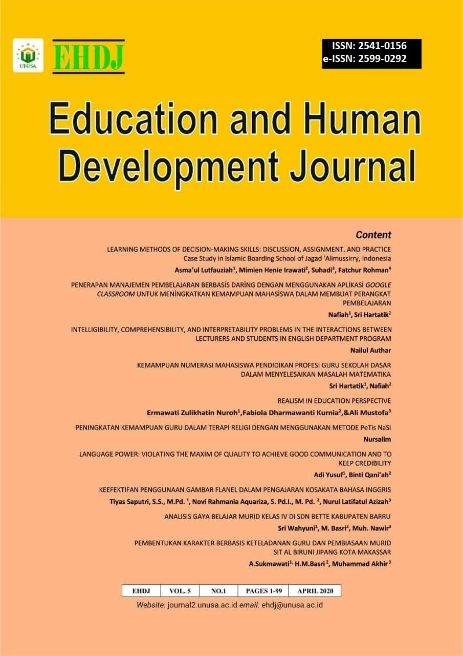View Vol. 5 No. 1 (2020): Educatioan and Human Development Journal