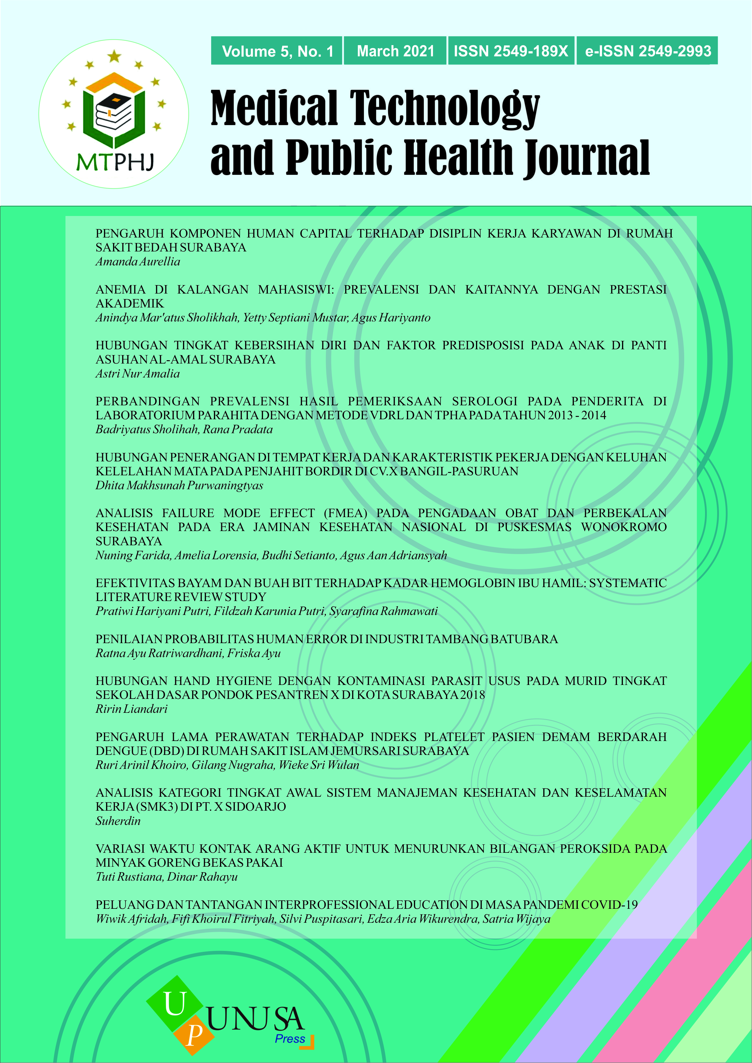 View Vol. 5 No. 1 (2021): Medical Technology and Public Health Journal March 2021